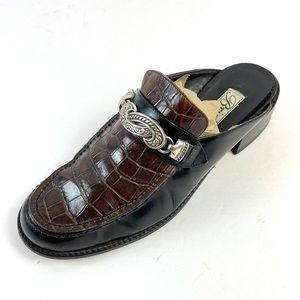 BRIGHTON Vintage Black & Brown Leather Crocodile Shoes